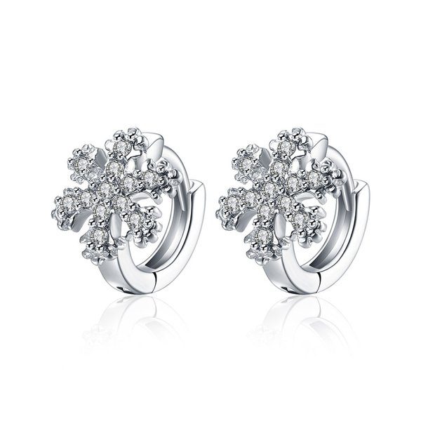 High Quality Silver Plated Brass Shiny Cubic Zirconia Snowflake Ear Clip For Women for Christmas Gift Free Shipping