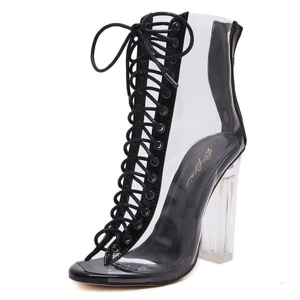 Sommer Sandalen Damen Chunky Heel Ankle Bootie Sexy PVC Transparent Lace Up Klar Schuhe Größe 35 bis 40