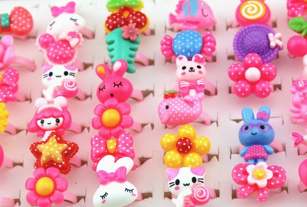 Jewelry Wholesale 100pcs/lot Baby Girl Mixed Lovely Candy Color Animals Flower Cartoon Rings Cute Kids Rings for Christmas gift MR124
