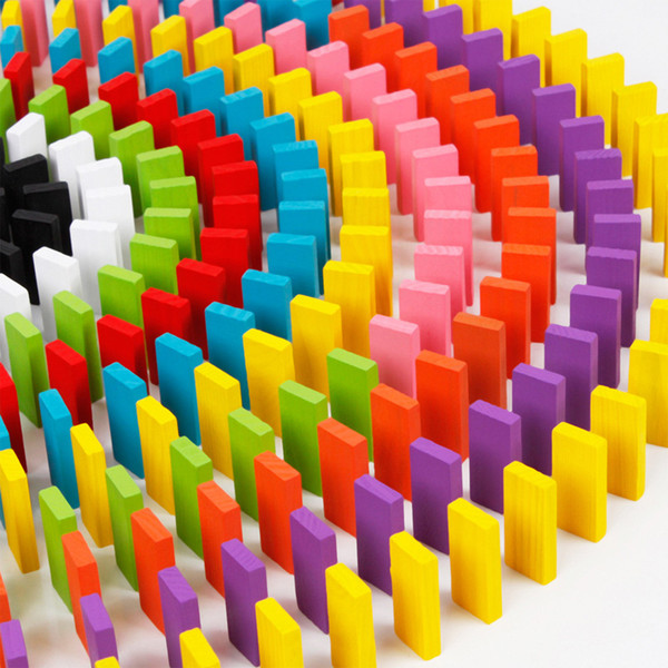 120pcs/set Children Color Sort Rainbow Wood Domino Blocks Kids Early Educational Wooden Toys Gifts for Children Set
