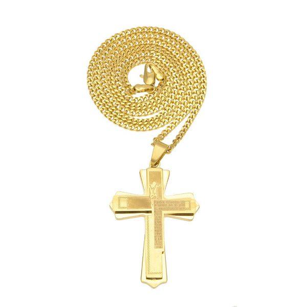 Men Cross Pendant New Fashion Chains Necklaces Design Filling Pieces Men Punk Jewelry Hip Hop Golden Rock Necklace For Mens