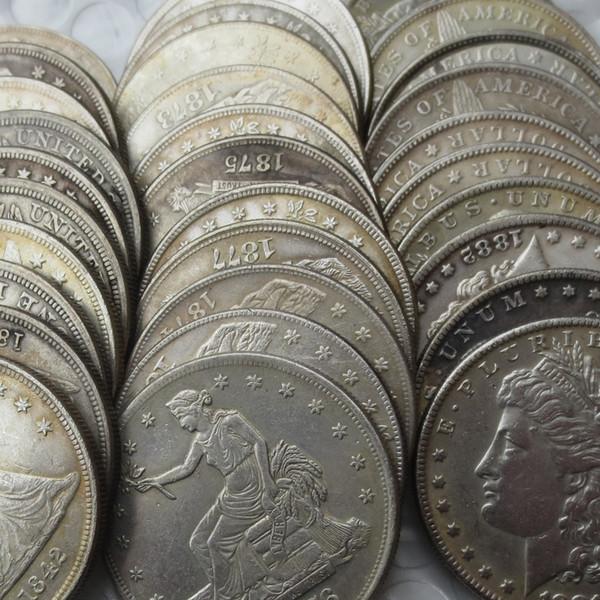 US Full Set 96 Stück Morgan Dollar, 25 Stück Peace Dollar, 46 Stück Seated Liberty Silver und 25 Stück Trade Dollar (192 Stück)