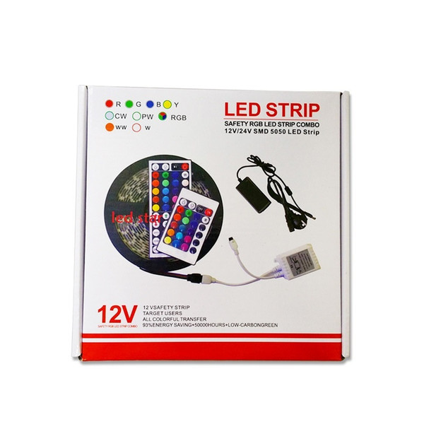 5M 300 Leds RGB led 5050 strip lights Set + 44 keys ir remote controller + power supply adapter
