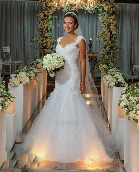 plus size Sheath 2019 Pleats mermaid Sweep train romantic wedding dress china fairy Corset Bridal Gowns full lace Applique wedding dress