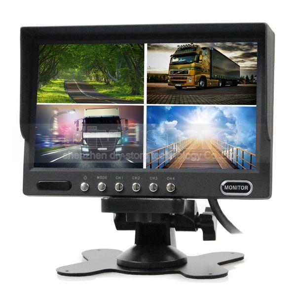 7inch Rear View Monitor Car Monitor 4 Split Quad LCD Screen Display DC12V-24V for Monitoring System