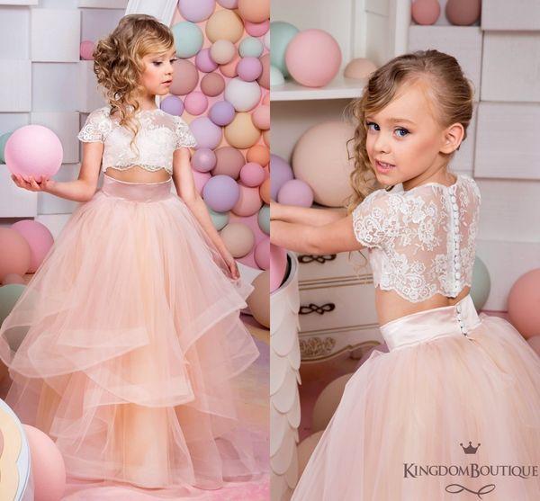 Zwei Stücke Spitze 2017 Arabisch Blumenmädchen Kleider Erröten Tüll Kind Brautkleider Vintage Kleines Mädchen Pageant Kleider