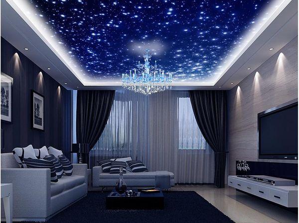top popular Beautiful fantasy universe sky zenith ceiling ceiling decoration murals 3d ceiling murals wallpaper 2021