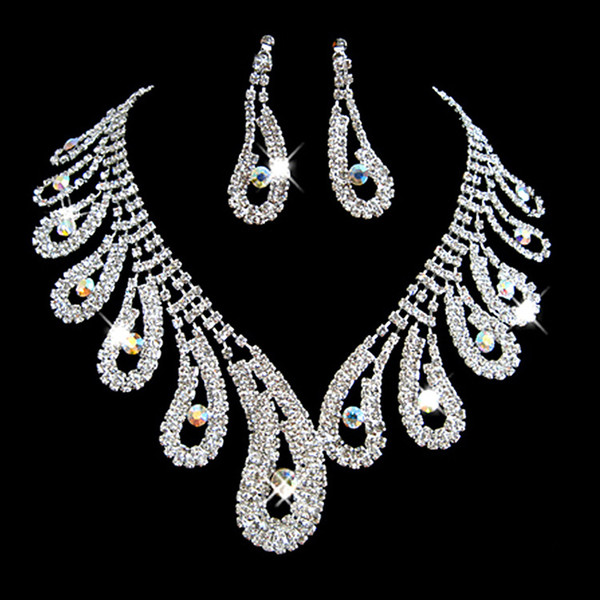 Fashion Rhinestones Bridal Jewelry Sets Silver Crystals Wedding Necklaces And Earrings For Bride Prom Evening Party Accessories