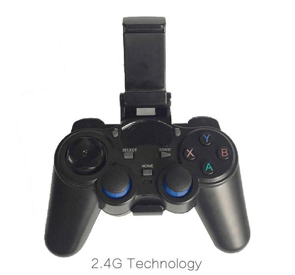 1 pcs 2.4G Sem Fio Controlador de Jogo Gamepad Joystick mini teclado remoter para caixa de TV universal e Smartphone GR1 w / suporte de telefone