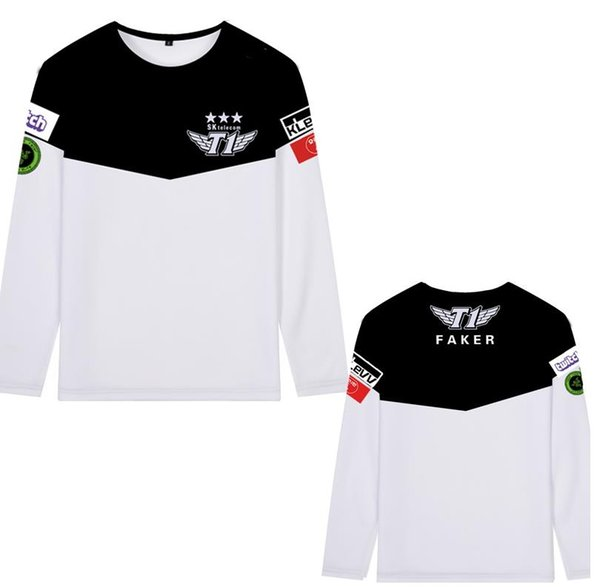 SKT T1 Faker Bengi Blank Duke Bang Wolf Cosplay Printed Tee Polyester Long Sleeve T-Shirt Free Shipping