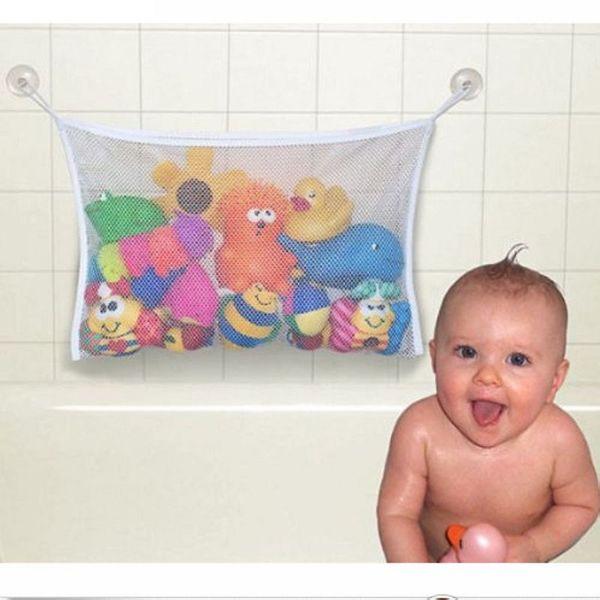 Wholesale- Hot Selling Kids Baby Bath Tub Toy Tidy Storage Suction Cup Bag Mesh Bathroom Organiser Net