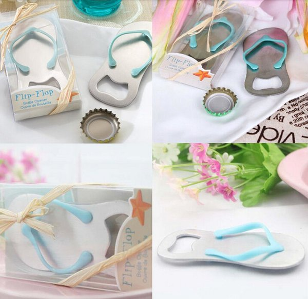 (FREE SHIPPING)100pcs/Lot+Blue Flip-Flop Wine Bottle Opener in Beach-Themed Box Wedding Favors Party Giveaway Gift For Guest