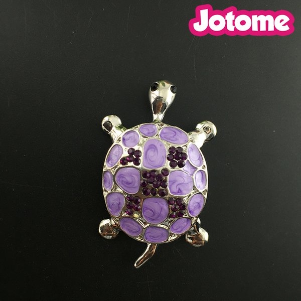 Purple Enamel Paint Bead Crystal Rhinestone Baby Turtle Fashion Pin Brooch