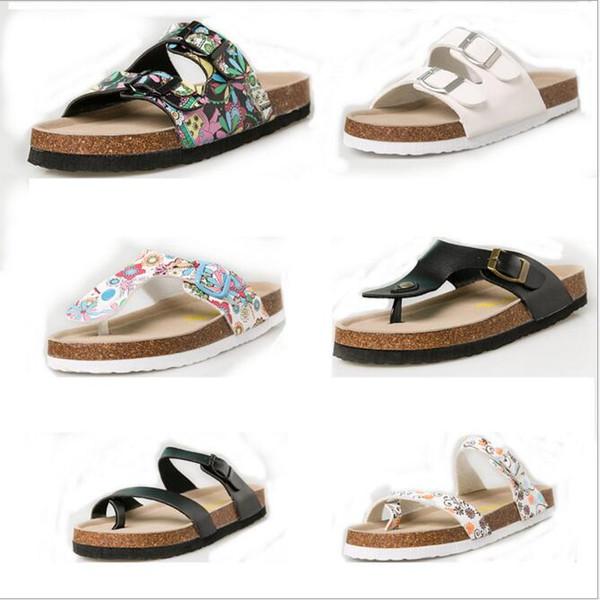 Flip-flops Sandals Cork Sandles Summer Beach Slippers Antiskid PU Leather Slipper Casual Cool Slippers Fashion Sandalias Footwear New B2290