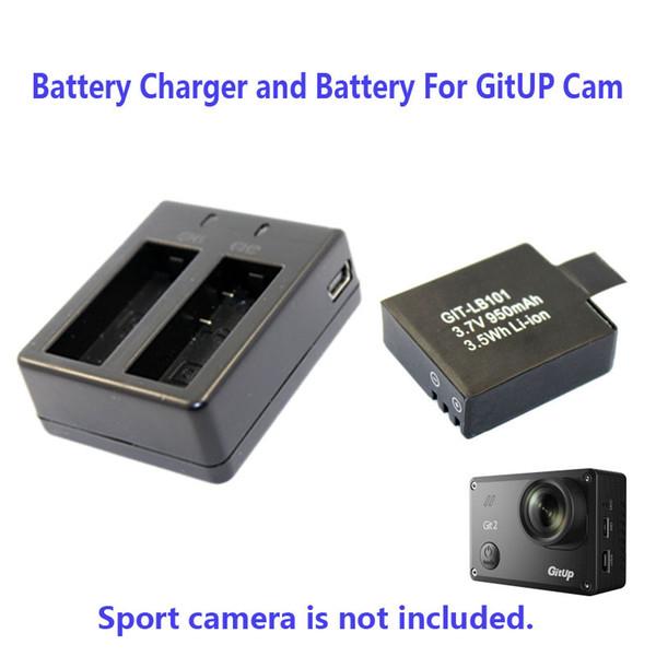 Wholesale- 950mAh Backup Rechargable Li-on Battery For GitUp Git2 Sport Camera DV+1pcs Battery Charger Free Shipping!