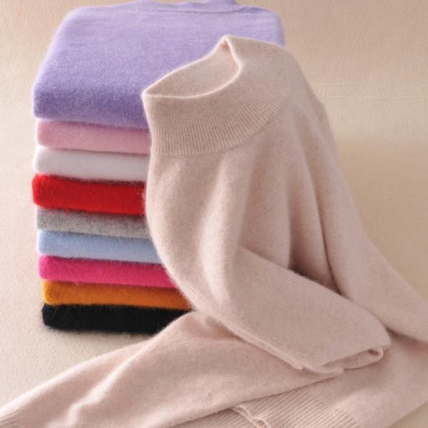 Al por mayor-invierno lana suéter de cachemira pura mujer jerseys de manga larga Pull Femme mitad suéter de cuello alto de cachemira mujeres suéteres y jerseys