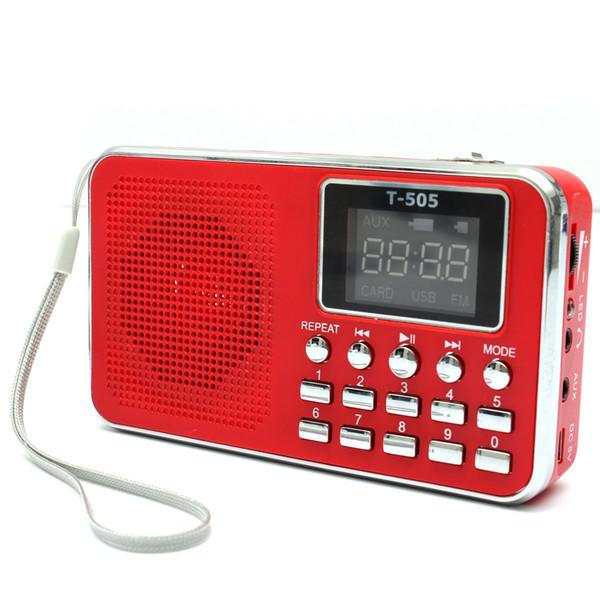 Wholesale-NEW Universal Home Stereo Speaker Mini Portable Radio TF Card Speaker FM Radio Digital Speaker with LED Screen