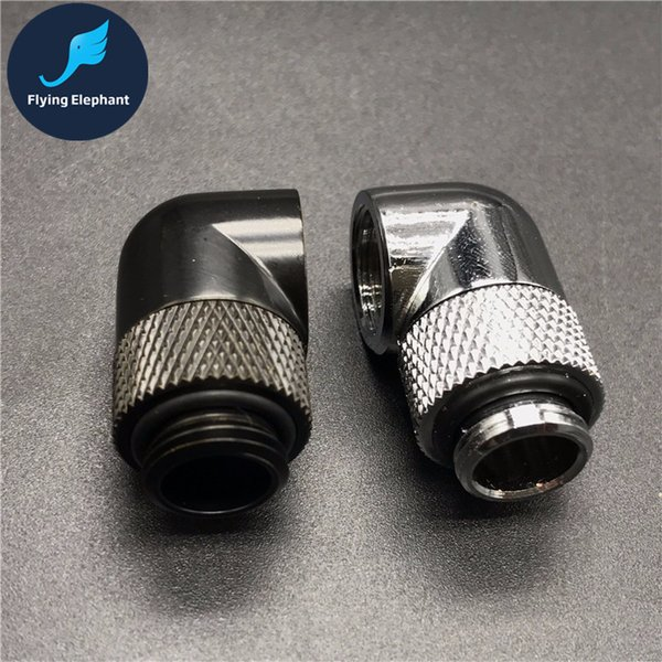 Wholesale- G1/4 Water Cooling tube Fitting 90/135 Degree Bent Quick Twist , 360 Degrees Rotating pipe Connector