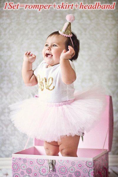 "best selling ins new baby girls ""one"" letter print ruffle Romper + Tutu Skirt + headband 3pcs Birthday Set outfits kids cotton clothes suit for baby"