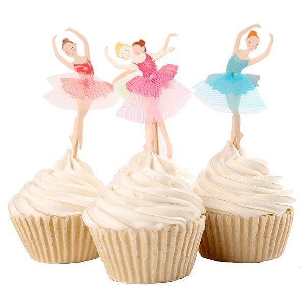 Al por mayor- 24pcs Ballet Girl Theme Party Supplies Toppers de la magdalena de la historieta Pick Kid decoraciones de la fiesta de cumpleaños
