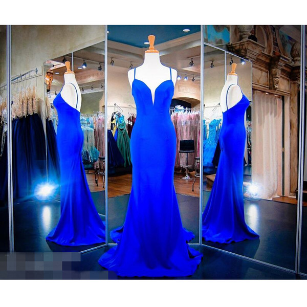 Royal Blue Long Evening Dresses Spaghetti Straps Simple Trumpet Jersey Sweep Train Formal Prom Gowns Mermaid Cheap 2019 Vestidos New