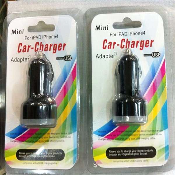 Hot sale 100pcs Dual usb port car charger 2.1A+1A car charger + 100pcs retail package for iphone 3 4 5 6 for samsung htc xiaomi