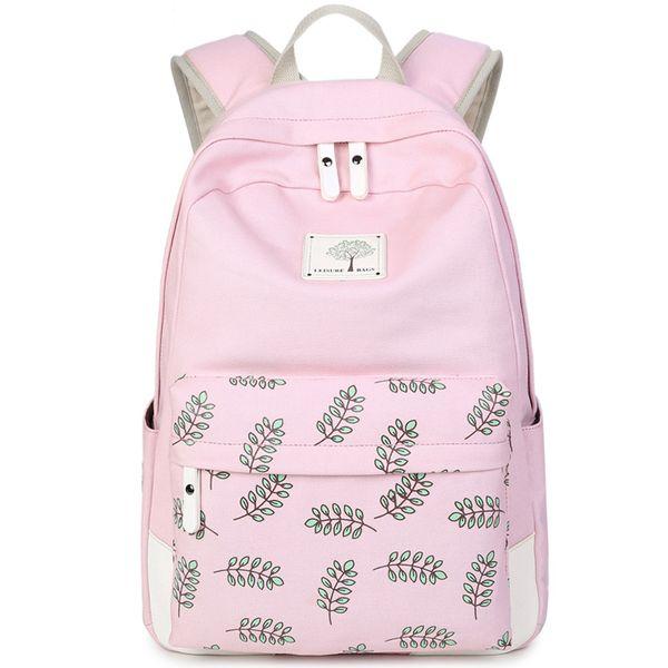 Wholesale- XQXA Pink Women Canvas Backpack for School Teenagers Girls Fashion Stylish Ladies Bag Backpack Female Leaf Printing High Quality