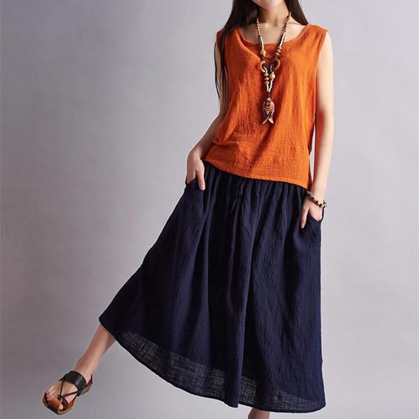 best selling 2016 Casual Brand Women Linen Cotton Long Skirts Elastic Waist Pocket Vintage Summer Skirts Faldas Saia