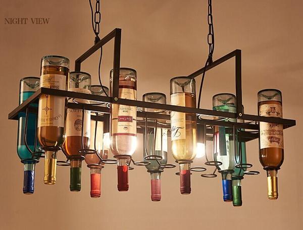 Criativo Loft Bar Restaurante Café pingente luz sala de estar garrafa de vinho decorativo personalizado designer artístico lâmpada pingente LLFA