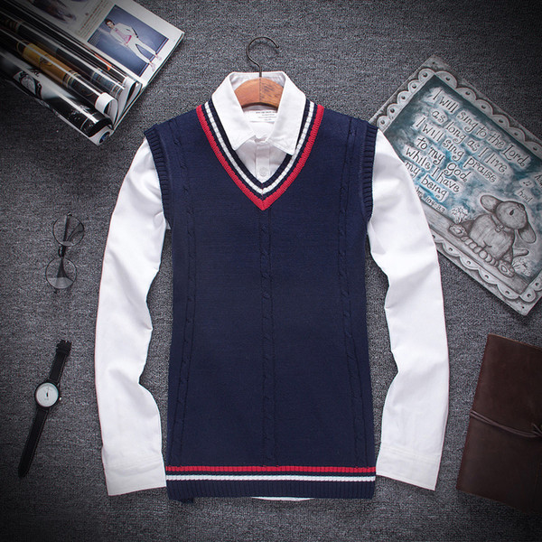 Wholesale- New the autumn winter 2017 men fashion boutique cotton v-neck knitted sweater vest / Male Formal social business sweater vest