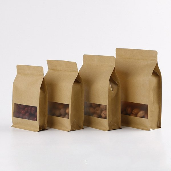 Seal Kraft Paper Bag Dry Fruits Tea Snacks Customizable Packing Bags Capable Of Standing Sack Convenient Poke 0 77sk J1