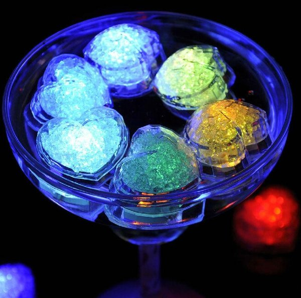 Heart shaped colorful LED Ice Cube Light Flash Automatically in Water Drink for Party Wedding Bars Chrismas Decorations 24pcs
