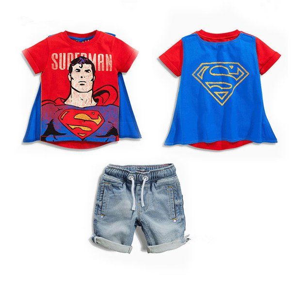 Summer New Baby Boys Cartoon Superhreo Capes Batman Short Sleeve T-shirt+Denim Shorts 2pcs Sets Kids Outfits Children Clothing Suits