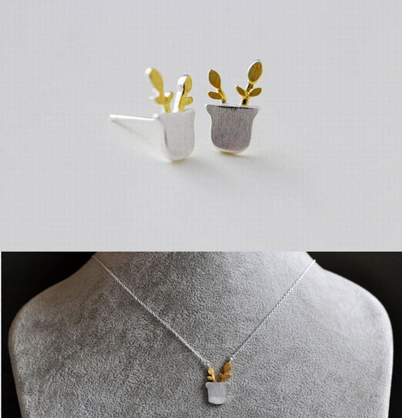 New Small Pots Choker Collar 925 Silver Boho Statement Yellow Pots Plant Pendant Necklace Earring Jewelry Set Leaf Long Necklace for Women