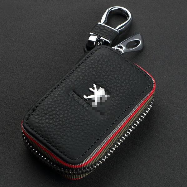 NEUE Autoschlüssel Fall Premium Leder Ketten mit Halter Reißverschluss Remote Wallet Tasche Abdeckung Zubehör für Ford Peugeot Citroen Auto