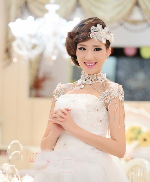 Necklace Earring Wedding Jewelry 2017 Applique Lace Crystal Elegant Bridal Wedding Dresses High Neck Sets For Women Cheap Bridal Set Bridesmaid
