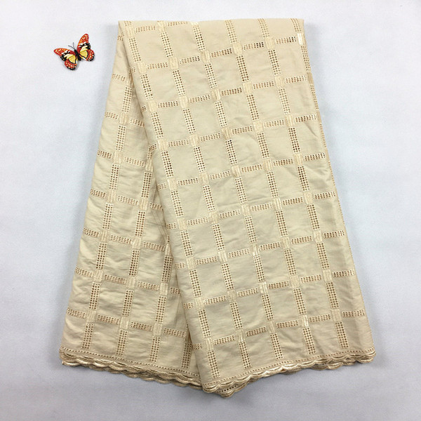 top popular Hot Sales African Polish Cotton Voile lace, 2071 Free Shipping(5 yards pack), 100%cotton African Wedding Party Men Lace Clothes 2021