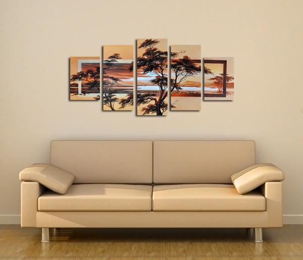 5 Teile / Satz Kein Gestaltet 100% Handgemalte Moderne Abstrakte Landschaft  Dekorative Bild Für Schlafzimmer Sonnenaufgang Baum Ölgemälde