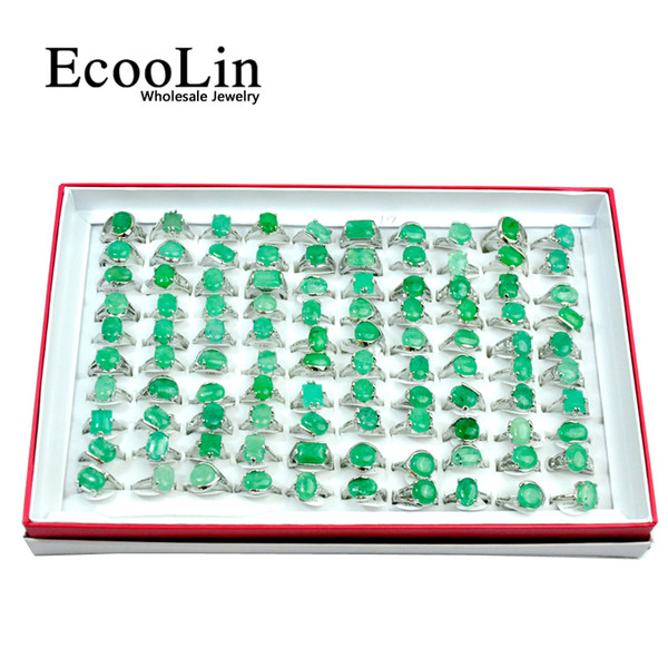 best selling EcooLin Brand Green Emerald Natural Stone Silver Plated Women Rings For Woman Fashion Wholesale Jewelry Bulks Lots Christmas Gift LR4007