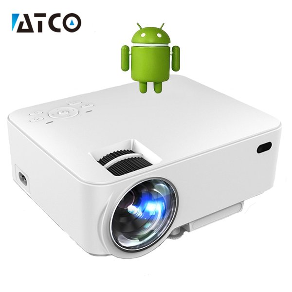 Wholesale-CT100 hd LED smart Projector WiFi Android 4.4 bluetooth Portable Pocket Mini Proyector beamer HDMI Home Theater cheaper price