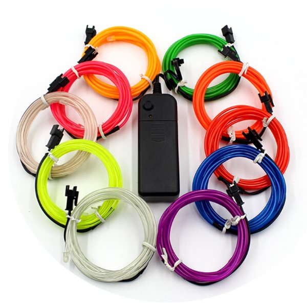 10 Cores 3 M 3 V Flexível Neon Luz Brilho EL Fita de Fio de Corda de Cabo tira de Néon Luzes LED Sapatos Roupas de Carro Fita Decorativa lâmpada
