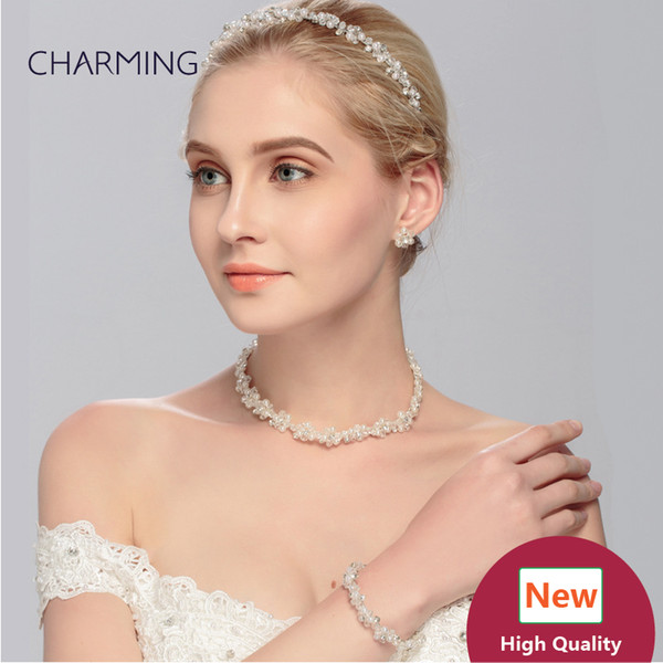 Jewellery design necklace and earrings and hair bando and bracelet 4 pcs Bridal jewelry sets Imitation jewellery charms Fashion jewelry