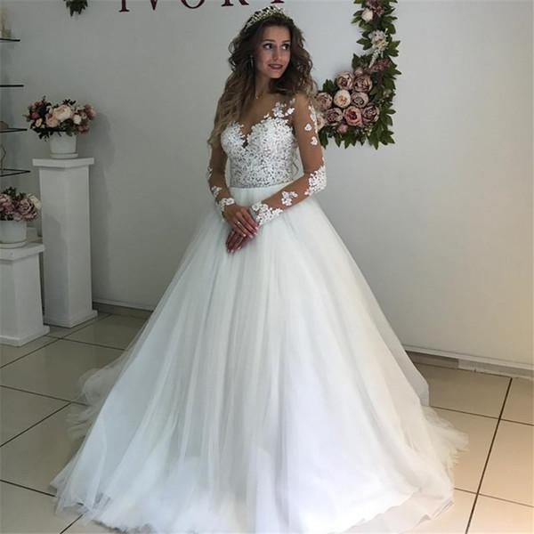 best selling Elegant Lace Appliques Long Sleeves Wedding Dresses Ball Gowns See Through White Tulle Bridal Dress vestidos de novias