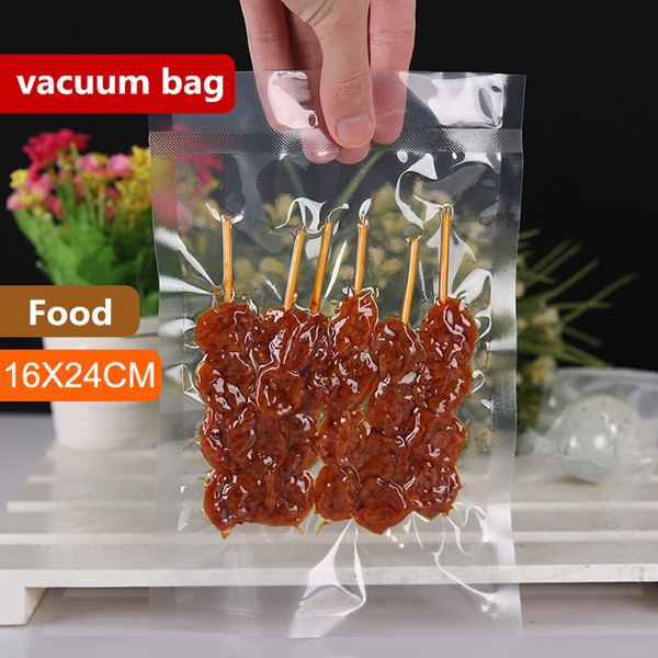 16x24cm 0.16mm Vacuum Nylon Clear Cooked Food Saver Storing Packaging Bags Meat Snacks Hermetic Storage Heat Sealing Plastic Package Pouch