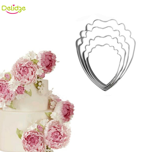 Wholesale- 4 pcs/lot Peony Petals Cake Mold Stainless Steel Peony Flower Fondant Sugarcraft Cookie Biscuit Cutter Cake Decorating Mold