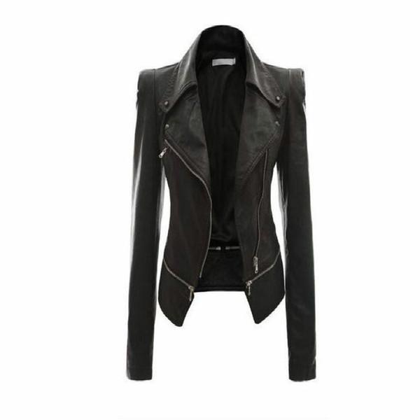 All'ingrosso - Giacca in pelle da donna Rivetto Giacca da moto con cerniera Turn Down Colletto chaquetas mujer Giacca in pelle modello Argyle S-3XL