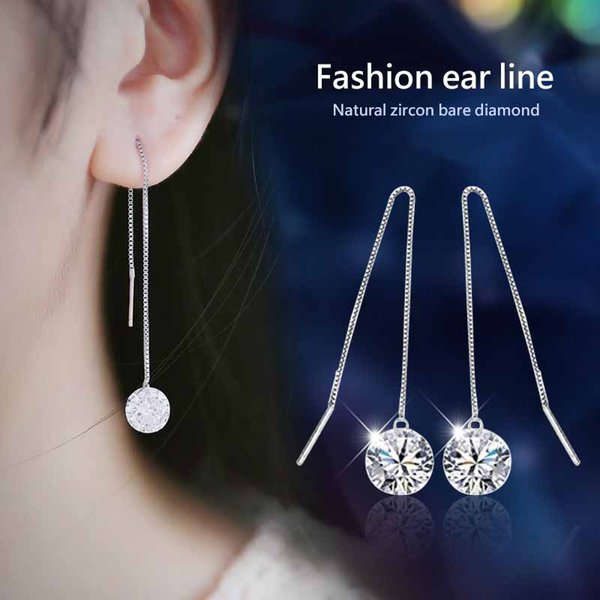 1Pair Women Silver Tassels Drop Dangle Long Chain Shiny Linear Earrings Jewelry woman girlfriend gift high quality