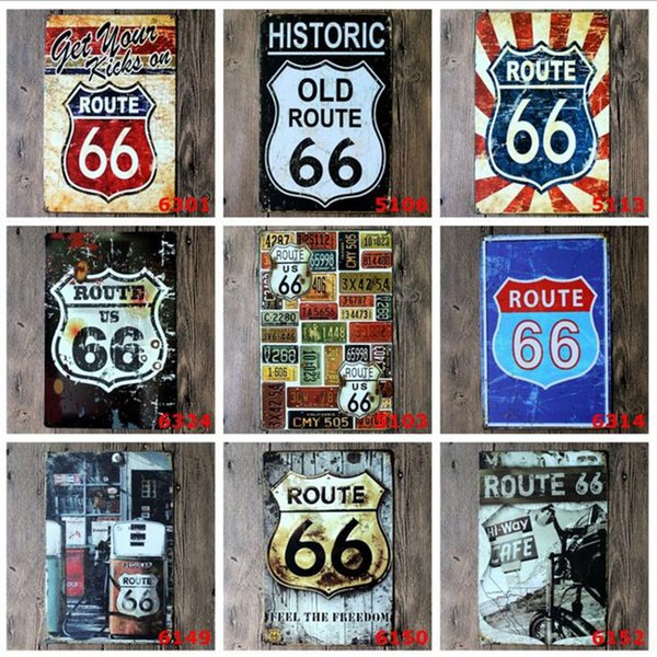 Moda 20 * 30 cm ABD Rota Eski Tarihi 66 Retro Vintage klasik Kalay Bar Pub Ev Duvar Dekor Retro Kalay Posteri Bar Metal Resim Sergisi