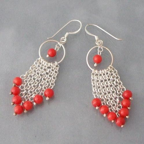 New Free Shipping Multi Strand Chain Red Coral Drop Earrings 925 Sterling Silver Hook 6mm Round Shaper Jewelry Wholesale Price