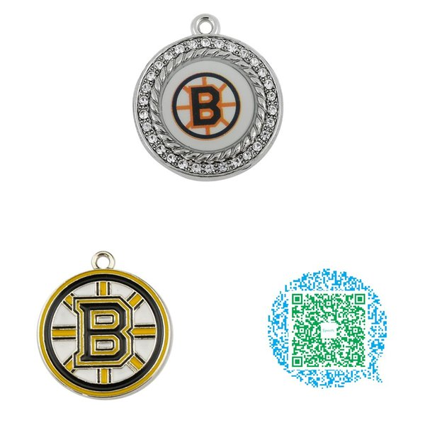 Wholesale-10pcs Hockey Runde Emaille Kristall Boston Bruins Charms Anhänger